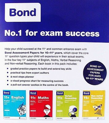 Bond 11+ Assessment Papers (Book 1) 4 Books Set: 10-11+ Years [Edn 2015] - New