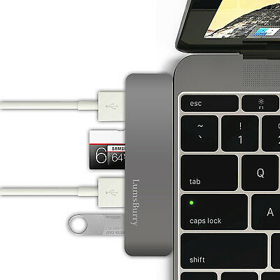 USB Type C Comb Hub Adapter with Micro SD Card Reader USB 3.0 for Macbook Grey