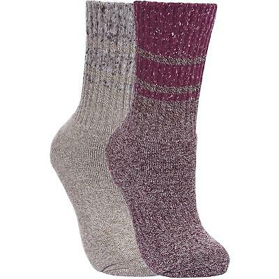 Trespass Hadley Womens OUTDOOR THICK WALKING HIKE Socks Grey / Purple 2 Pack