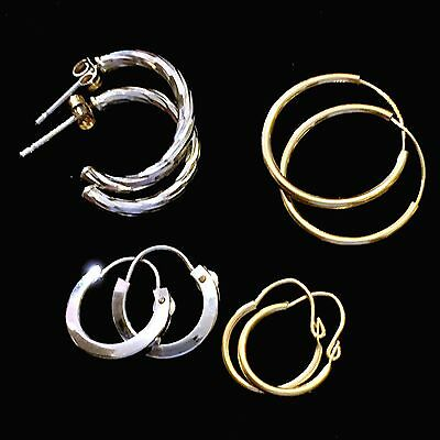 14K Yellow Gold 14K White Gold Small Hoops Earrings Lot 4 Pairs