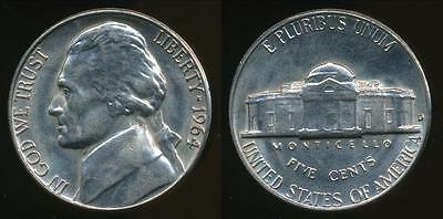 United States, 1964-D 5 Cents, Jefferson Nickel - Uncirculated