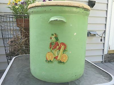 """Rare Vintage Large Stoneware Hand Painted Crock with Lid approx. 9 5/8"""" Tall"""