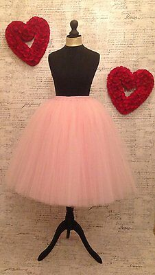 Pink tulle net midi satin lined skirt, prom dress up party night out hen bride