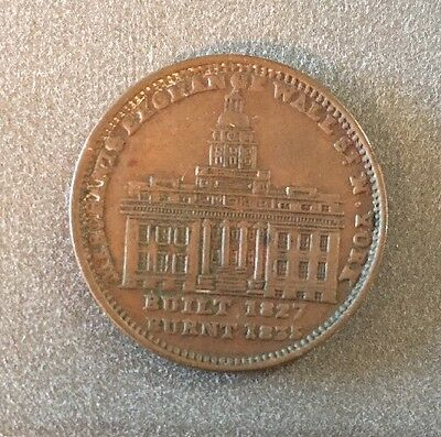 1837 Merchant's Exchange, Wall St., N.Y. Hard Times Token Not One Cent - Nice!