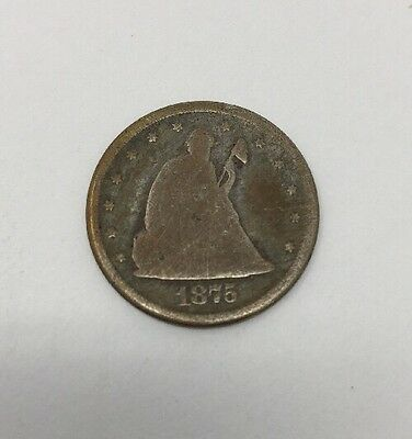 1875-CC Seated Liberty 20C Twenty Cent Carson City -solder damage