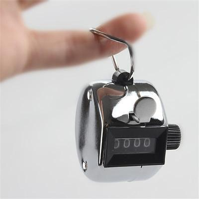 4 Digit Chrome Tally Counter Hand Held Clicker Palm Golf People Counting New T