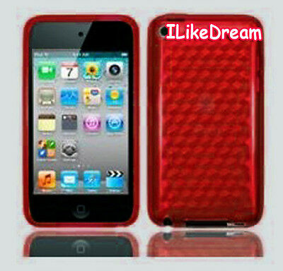 Shining See-through Gel case cover for ipod 4 4g 4th Red