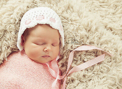 Hand Crochet Knitted Baby Hat Bonnet Photo Prop Girl Newborn-6M White & Pink