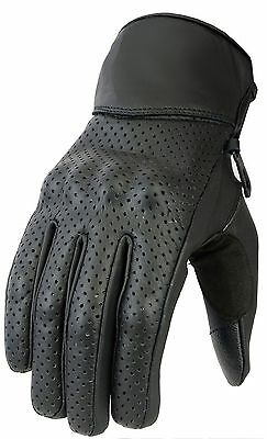 Mens Perforated  Leather Protection Vented Motorbike / Motorcycle Leather Gloves