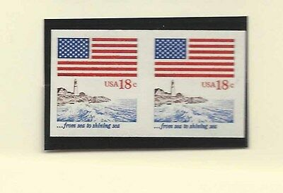 Flag Sea To Shining Sea Imperforate Coil Line Pair Us Scott # 1891A Mnh Og