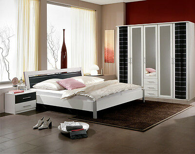 Qmax 'Eve'' Range German Made Bedroom Furniture. White w/ Black Finish