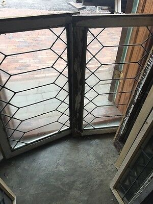 Sg 1433 Matched Pair Antique Leaded Glass Geometric Windows 23.25 X 34.25