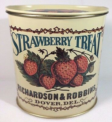 Vintage Advertising Ad Strawberry Treat Litho Tin Can w Lid Storage Container