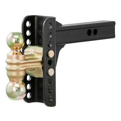 """CURT 45900 Adjustable Channel Style Trailer Hitch Dual Ball Mount; 2"""" & 2-5/16"""""""