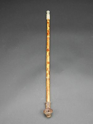 Antique Chinese Bamboo and Jade  opium pipe 22 inches 18th/19th century