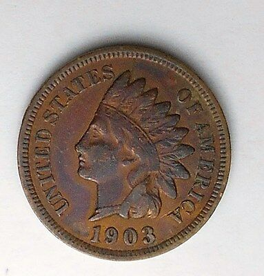 1903 Indian Head Penny Cent Nice Toned Example Free Shipping