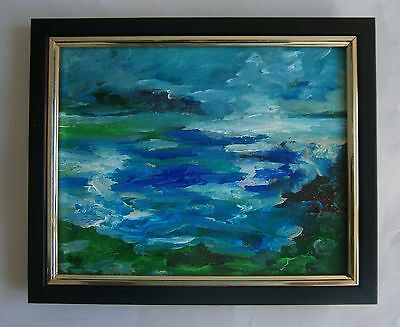 "Original Modernist Oil Painting ""rock Pools - Cornwall"" - Signed"