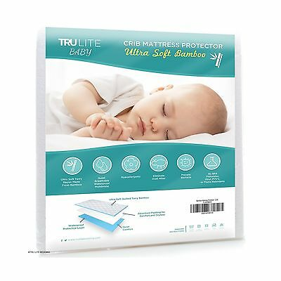 Baby Crib Mattress Protector Pad - The Softest Bamboo Rayon Fiber Quilted Ter...