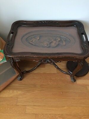 Antique Glass Top Table