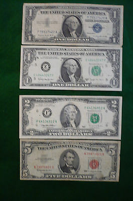 US $1 BLUE SEAL $1 BARR $2 GREEN SEAL $5 RED SEAL NOTES (lot #MK-0028)