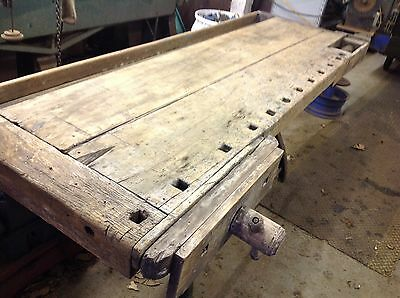 Antique Wood Carpenter's Work Bench Woodworker's Table Vises, lathe legs
