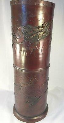 Antique Japanese Bronze Umbrella Stand With Dragon & Tiger NICE!