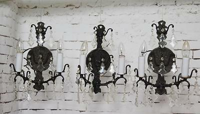 Set of 3 Retro Iron & Crystal Sconce two Arm Wall Light Fixtures  [PL3523]
