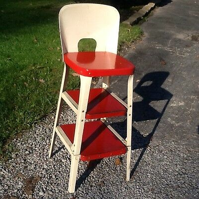 "Vintage Red / White Kitchen 2 Sliding Out Step Metal Stool - 12"" Seat - Nice"