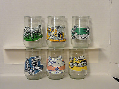 1995 Looney Tunes Special Edition Welch's Jelly Glasses Set of 6 With Lids