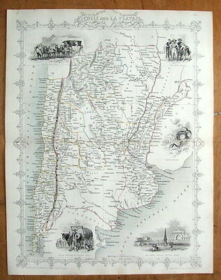 CHILE, ARGENTINA, S.AMERICA, RAPKIN & TALLIS original antique map c1850