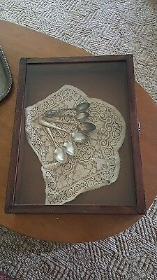 vintage wood and glass display piece case countertop