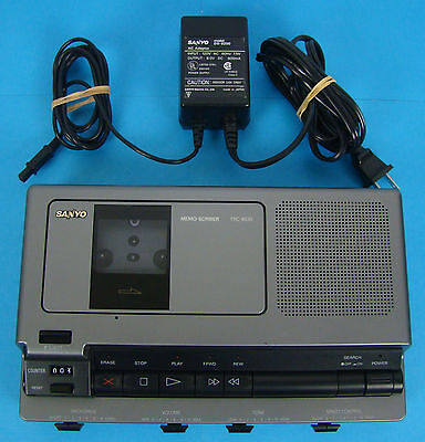 Sanyo TRC-8030 Standard Cassette Transcribing System with Power Supply Works