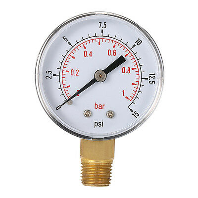 Mini Low Pressure Gauge For Fuel Air Oil Or Water 50mm 0-15 PSI 0-1 Bar @B