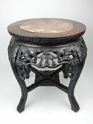 Antique Chinese Rosewood Marble Top/ Stand/ Stool  18 inches