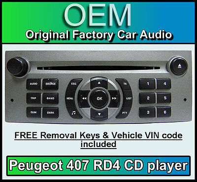 Peugeot 407 car stereo CD player Peugeot RD4 radio + FREE Vin Code and keys