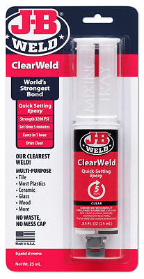 New J-B Weld 50112 ClearWeld Quick Setting Epoxy- Free Shipping