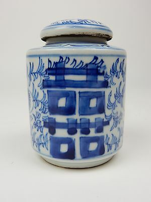"""Antique Chinese Blue and White Double Happiness Tea Caddy/ Storage Jar 4"""""""