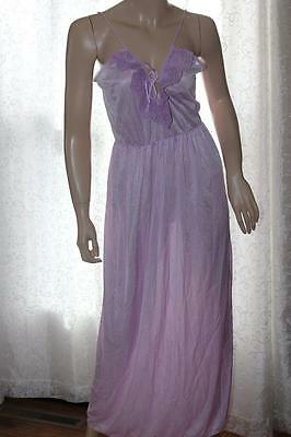 Vintage Alana Gale Lavender Long Nightgown with Tie Bust and Lace Medium (4879)