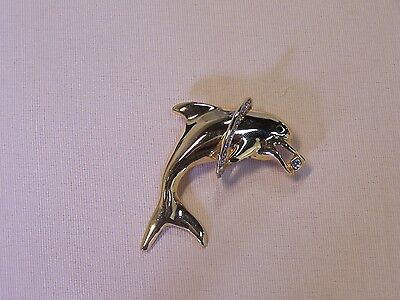 Polished Dolphin Pin Finished with Swarovski Crystals