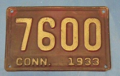 1933 Connecticut license plate nice number 7600