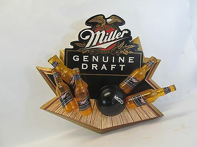 "Mgd 3D Miller Genuine Draft Bowling Ball & Pins Plastic Beer Sign 23"" Man Cave"
