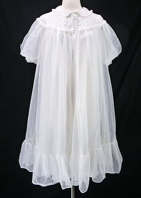 Vintage Miss Elaine White Double Nylon Chiffon Nightgown Peignoir Robe Set L