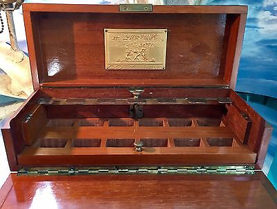 *les Parfums De Coty Wood Box *r Lalique Plaque* *vintage Coty*