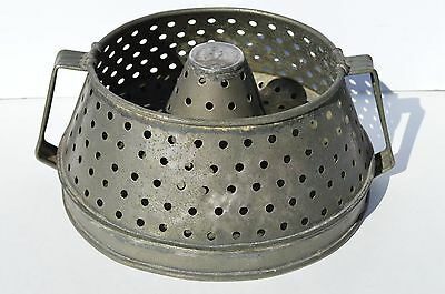 Rare Antique Industrial Well Built Metal Colander/strainer With 2 Handles