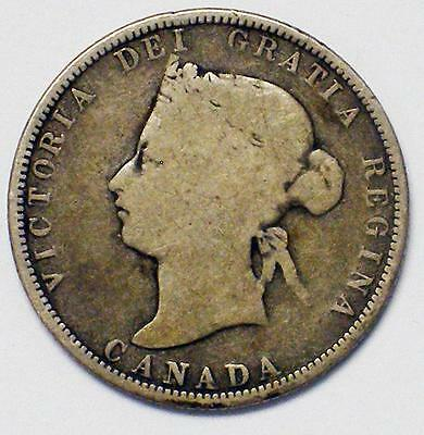 1875 H 25C Canadian Twenty Five Cent Piece