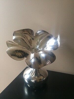 "Beautiful M.M. Evolucao 9"" Silver Plated Flower Vase"