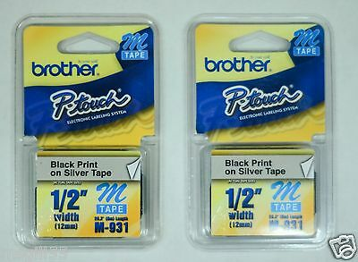 [LOT OF 2]Genuine Brother P-Touch M Series Tape Cartridge, 1/2w, Black on Silver