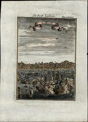 Lisbon Portugal battling ships armada naval fleets 1719 Mallet old antique view