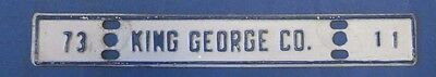 1973 King George County license plate from Virginia low number 11