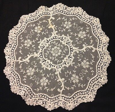 Antique Adorable Princess Chemical Lace Doily Centerpiece Floral Pattern 16 1/2""